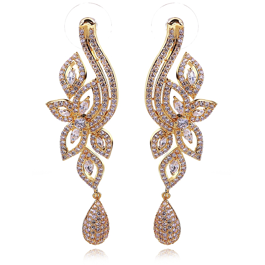 Long diamond earrings designs beautify themselves with earrings