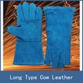 7 Colors Newest Stretch Long Type Antiwear Cow Leather Safety Protective Welding Work Gloves for Building