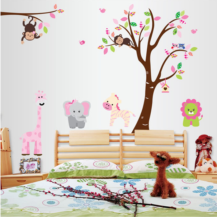 Latest Large Animal Zoo Tiger Monkey Lion Tree Wall Stickers for Children Room Home Decor Decal Sticker on Wall Wallpaper(China (Mainland))