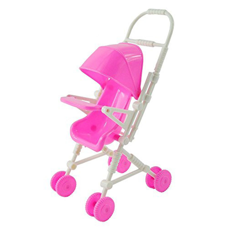 Pink Baby Stroller Infant Carriage Stroller Trolley Nursery Toys Furniture for Barbie Doll Gifts for Baby Girls Free shipping(China (Mainland))