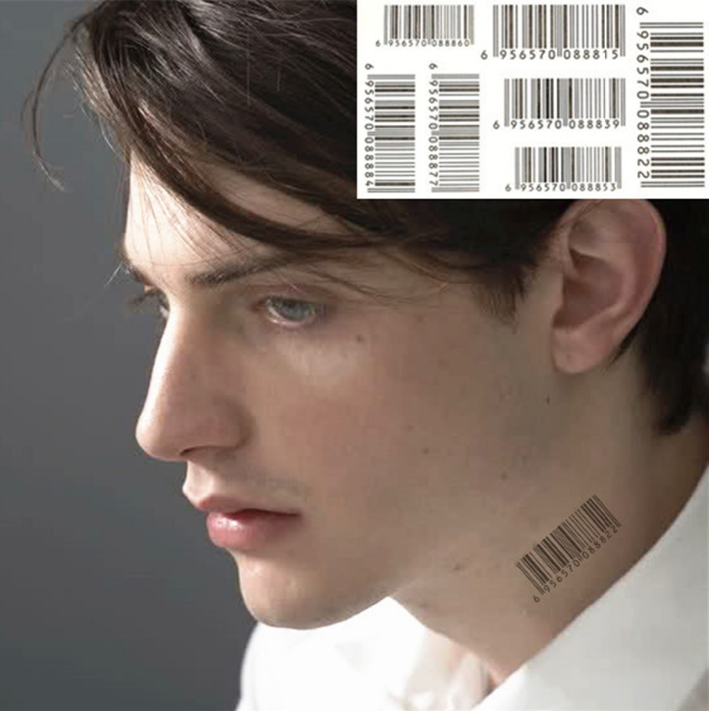 Nu Era Barcode Matrix Man Syle Temporary Body Art Flash Tattoo Sticker 17 10cm Waterproof Henna