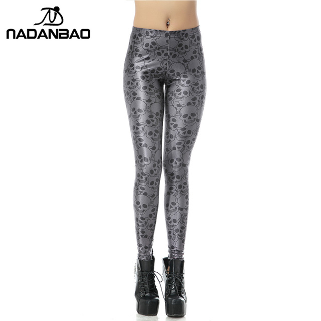 2015 Spring Custom Design High Талия Черный Skull Gray Digital Print woman fitness ...
