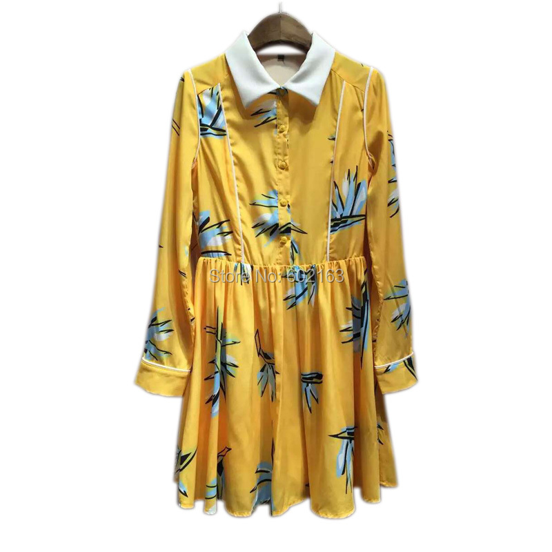 2016 New Style Summer Dress High Quality Long Sleeve Vestido Casual Turn-down Collar Brand Women Dresses With Pattern