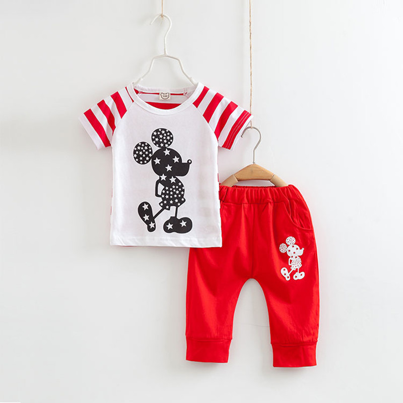 Kids Clothes Boys Short Sleeve T-shirt+Pants 2PCS/Set Micky Mouse Cotton Tops Shorts Summer Clothing Set Children Sport Suit