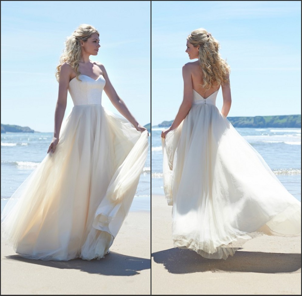 Fashion custom made sweetheart lace pleated bridal gown for Backless beach wedding dresses