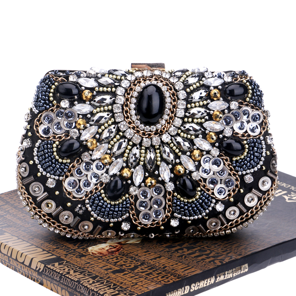 Vintage Embroidery Beaded Women Evening Bags Chain Shoulder Handbags Messenger Party Rhinestones Day Clutches Purse/Wallets<br><br>Aliexpress