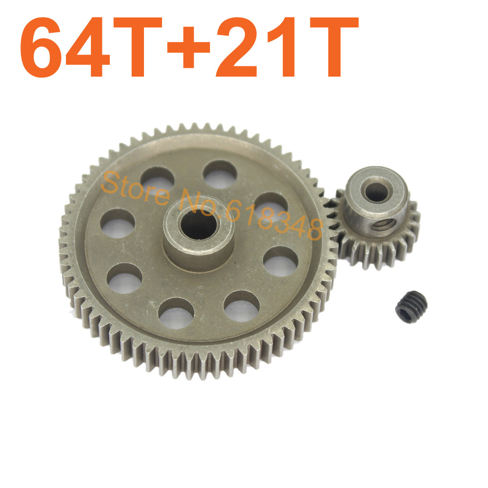 11184 Metal Diff.Main Gear 64T &amp;11181 Motor Gear 21T Teeth RC Parts 1/10 HSP BRONTOSAURUS Truck Hobby Baja Himoto Amax 94111<br><br>Aliexpress