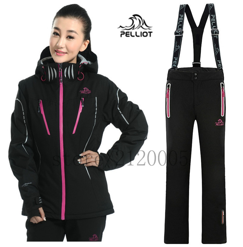 THE new 2016 ladies ski jacket, PELLIOT SKI jacket+pant, more warm, waterproof windproof, women suits skateboard clothing(China (Mainland))