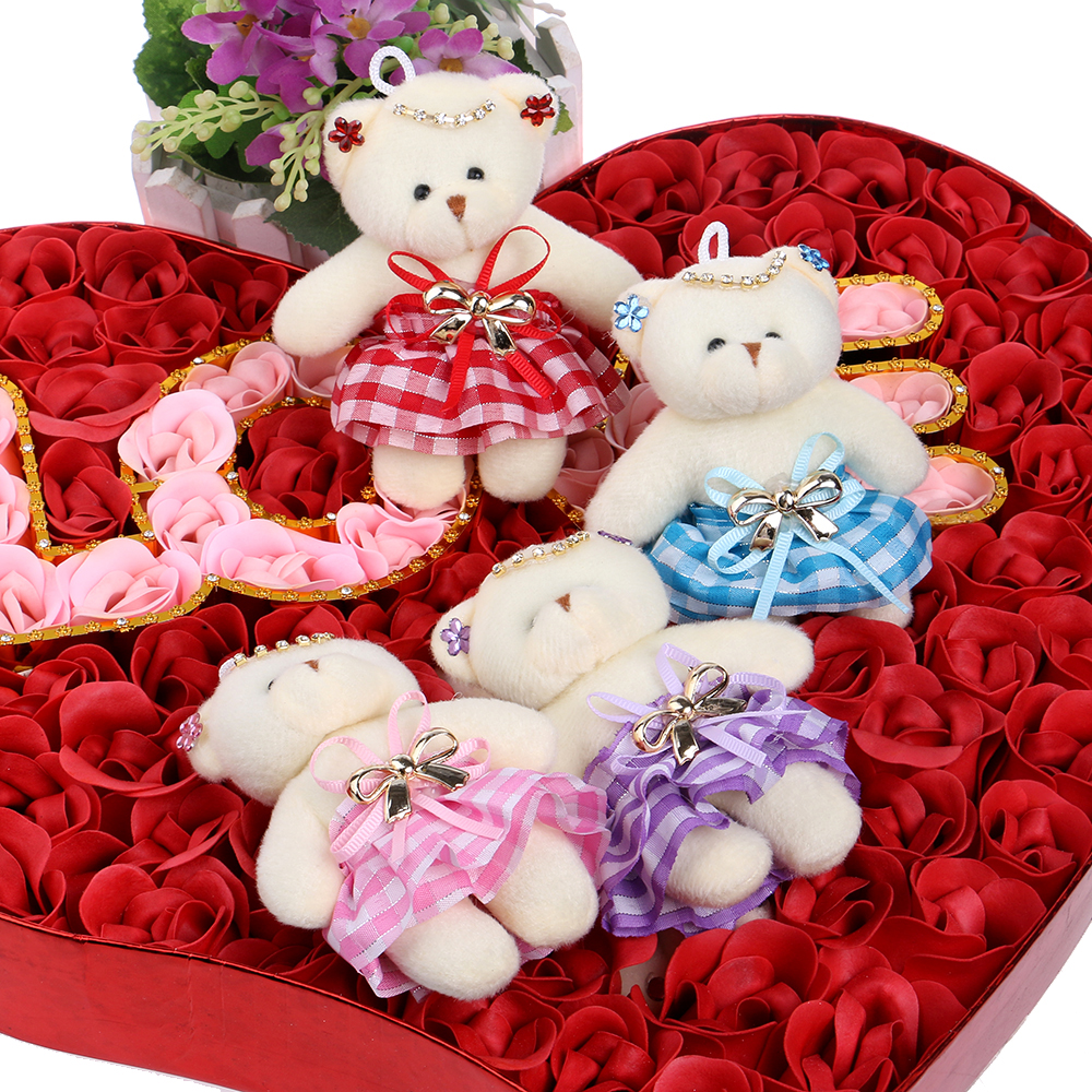 2016 New Design Flower Bouquets Material Teddy Bears Mixed 4 Color Chain Diamonds Bow Plush Toys With Dress Toy(China (Mainland))