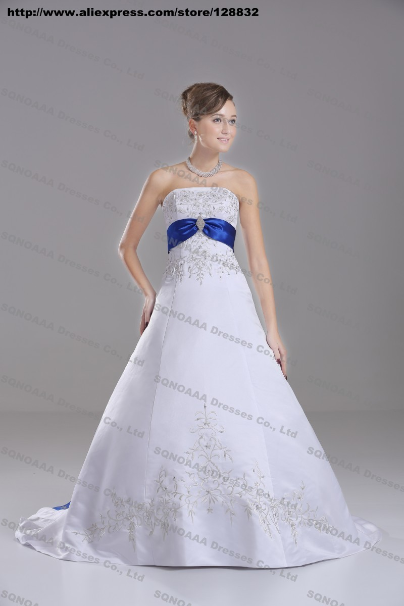Discount silver embroidery white royal blue stain a line for Silver and white wedding dresses
