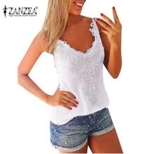 Plus 8 Size 2016 Women Tank Tops Zanzea New V-Neck Lace Patchwork Slim Bodycon Sexy Summer Style Ladies Casual Shirt blusa(China (Mainland))