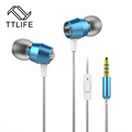 Original TTLIFE 3 5mm In ear Earphones Super Clear Bass Metal Earphone Noise isolating Earbud For