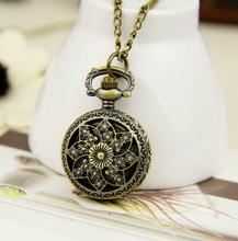 fashion retro vintage jewelry skeleton Bronze copper cartoon flower quartz samll pocket watch men women necklace steampunk