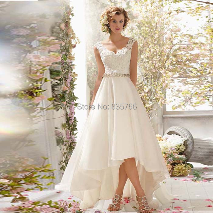 High low wedding dresses sexy v neck organza bridal gowns for Wedding dress high low