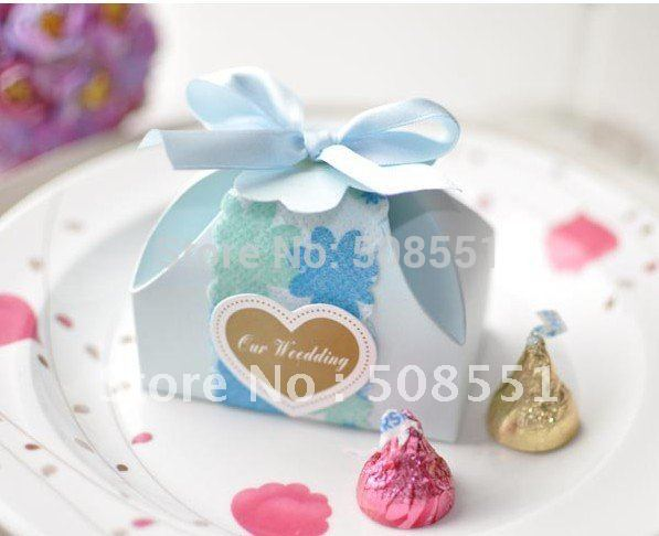 """Wholesale and RetailBlue Card Paper """"Our Wedding"""" Candy Boxes Wedding Chocolate Box Heart With Ribbon(China (Mainland))"""