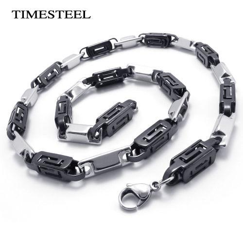 """TSC075434-36 Fashion 316L Stainless Steel Chain Necklace For Men Greek Key Pattern 7mm 22""""(China (Mainland))"""