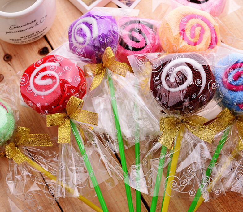 50pcs/lot free shipping Lollipop shaped cake towel favor gifts wedding gifts baby shower towel gifts birthday gift(China (Mainland))