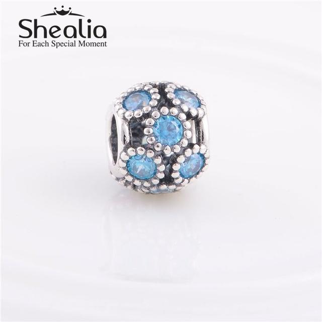 Стерлингового серебра 925 ажурные игристые круги подвески с морской синий кристалл подходит известная марка шарм браслеты и ожерелья