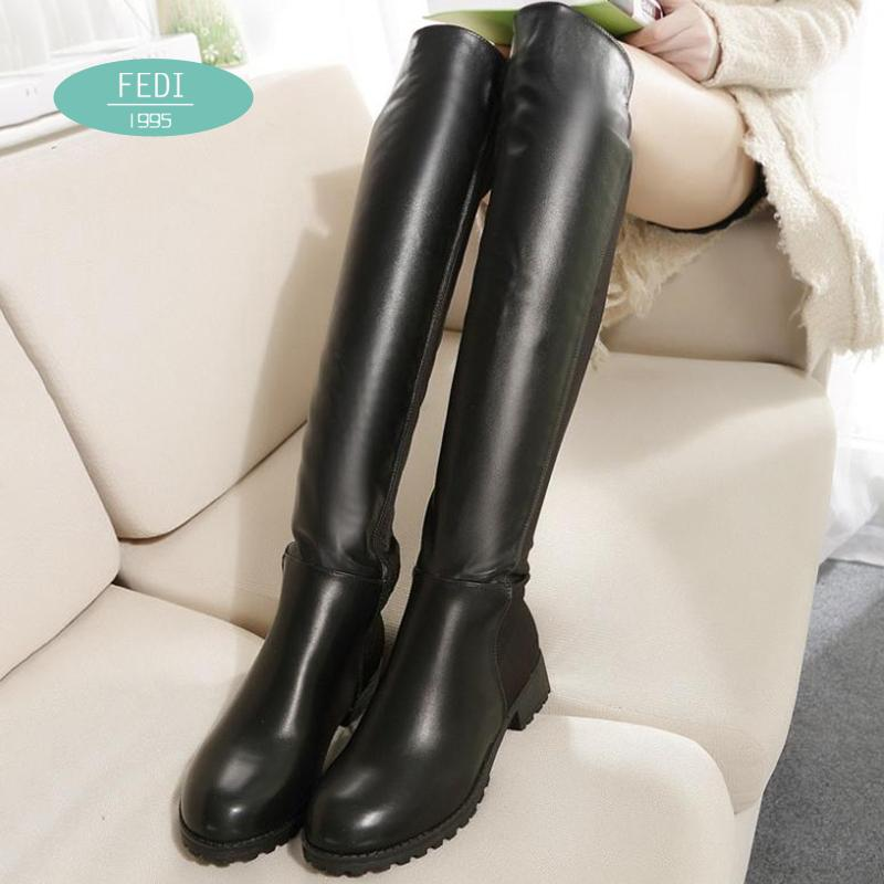 Flat high heel knee boots Skinny legs Womens boots New Martin Genuine Leather knee boots womens winter boots ladies female shoes