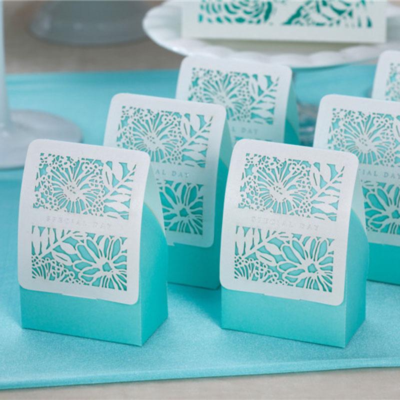 Romantic Wedding Gift Box Blue Flower Candy Box Wedding Favor Boxes Gift Box