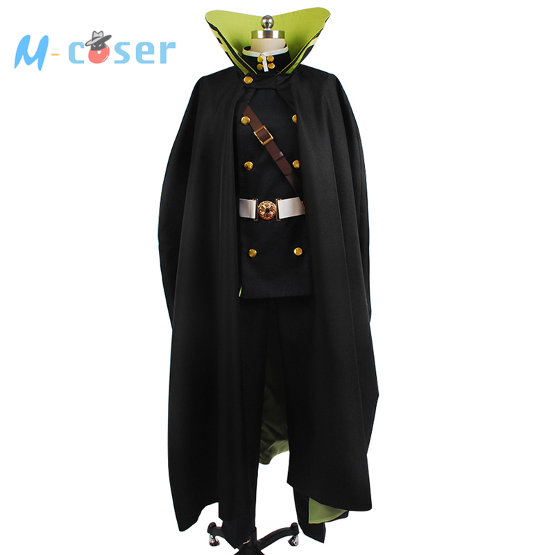 Seraph of the End Yuichiro Hyakuya Uniform Outfit Black Cloak Coat Shirt Pants Anime Halloween Cosplay Costume For Men CustomОдежда и ак�е��уары<br><br><br>Aliexpress
