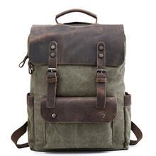 Для мужчин хаки/кофе/озеро зеленый/серый холст Для мужчин рюкзак школьные сумки для подростков ноутбука сумка мальчики девочки школьный рю...(China)