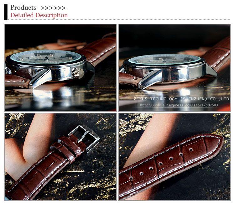 Luxury Fashion Black Brown PU Leather Strap Round Quartz Man Watch Wristwatch For Men With Calendar