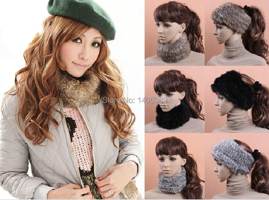 DL6082 100% Real Rabbit Fur Headband Natural Knitted Fur Headwear Genuine Rabbit Fur Warm Ear Headwear(China (Mainland))