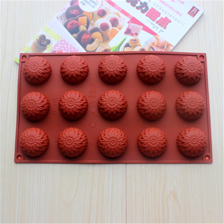 Silicone Rose Mold for Cake Chocolate Soap 15 Rose Flowers Shape Backing Mold SC1440 29.5*17.5*2.5cm Free Shipping(China (Mainland))