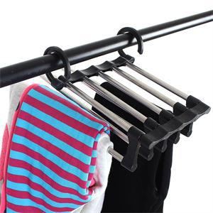 Free shipping Hot Sell Magic Trousers Hanger/rack Multifunction Pants Closet Hanger Rack 5 In One Practical and Convenient(China (Mainland))