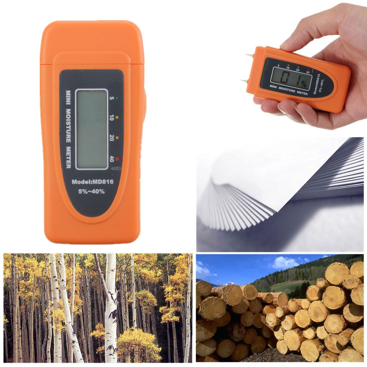2015 Newest Overvalue Mini Digital LCD 2 Pins Cotton Wood Bamboo Moisture Meter Damp Tester Detector