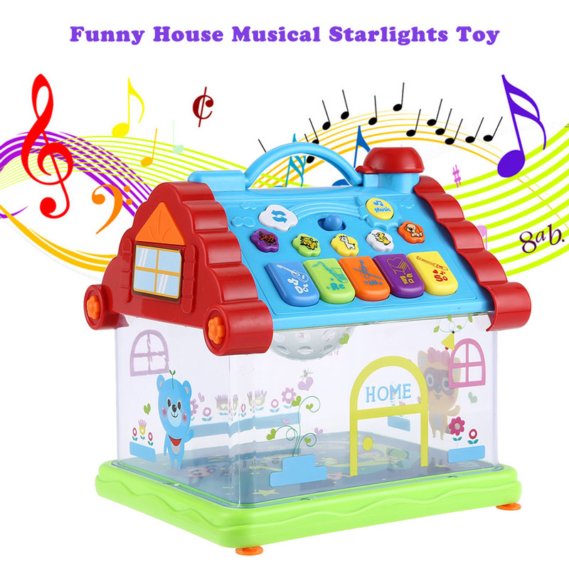 Kid educational toys Plastic Musical Toys Funny Musical House Piano Electric Starlights Kids Early Intelligent Gift Toy(China (Mainland))