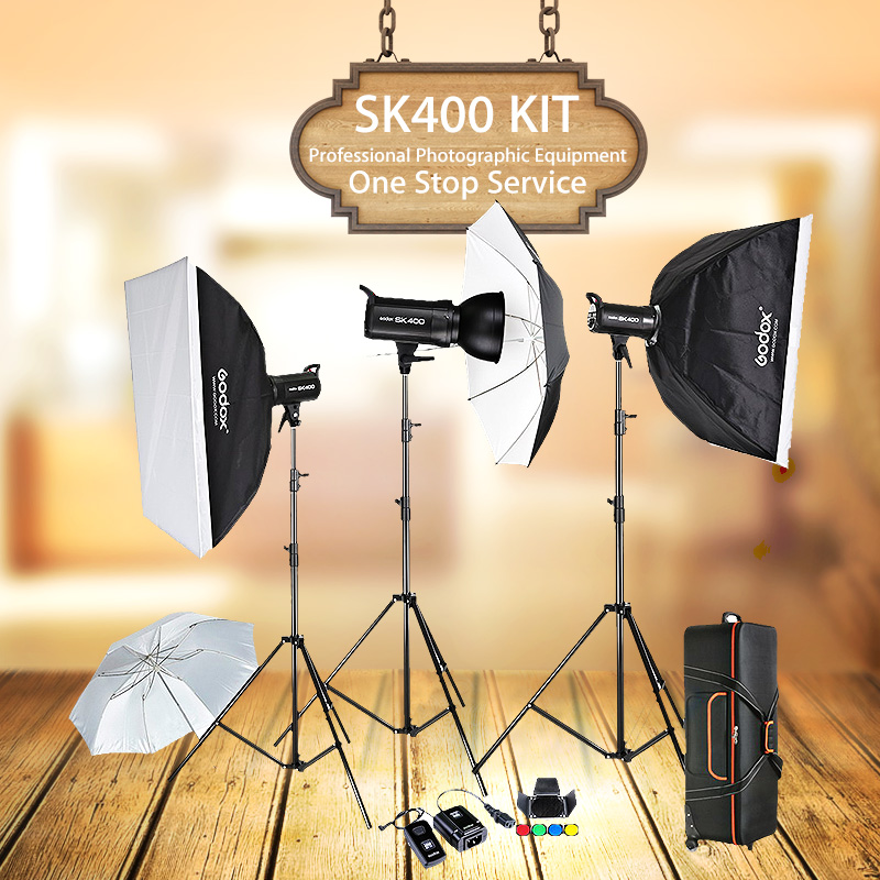 Godox SK400 3 x 400W Compact Photo Studio Flash Lighting set Digital Photography Strobe Light & Softbox Portrait Kit(China (Mainland))