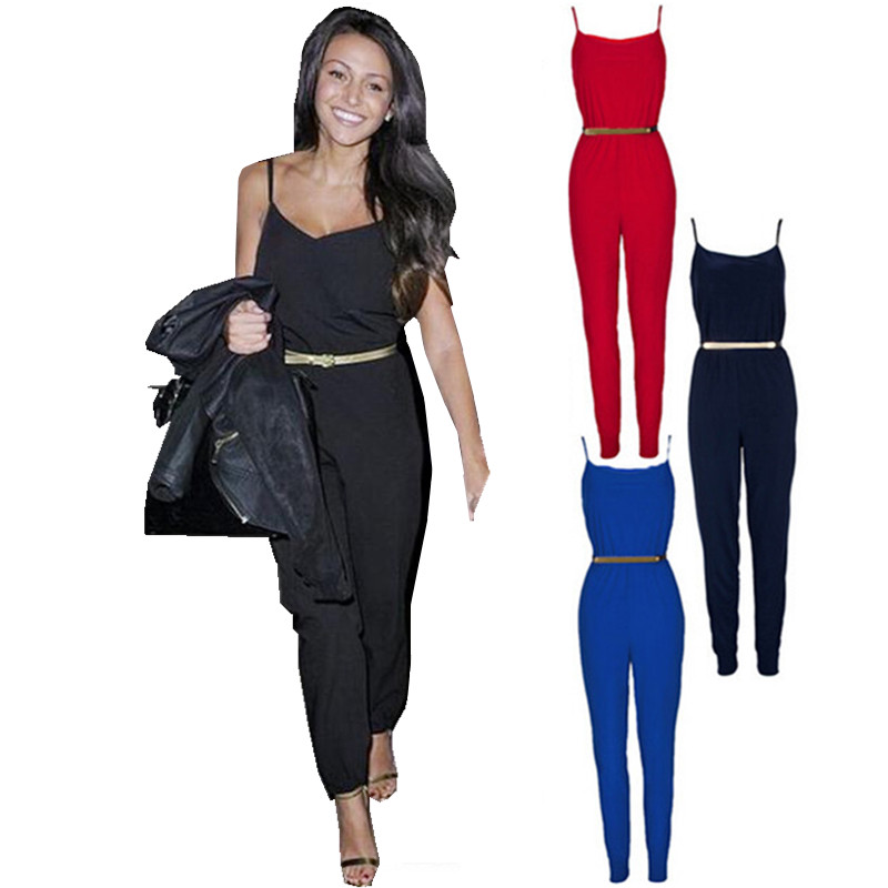 Luxury New 2014 Rompers Womens Jumpsuit Overall For Women Black Jumpsuits