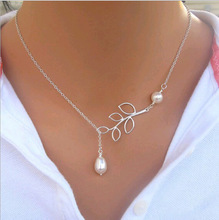 Hot Sale Luxury Leaf Imitation Pearl Necklace Circle Lariat Necklace Jewelry Wedding Party Gift  Tree leaf pearl necklace * X-01(China (Mainland))