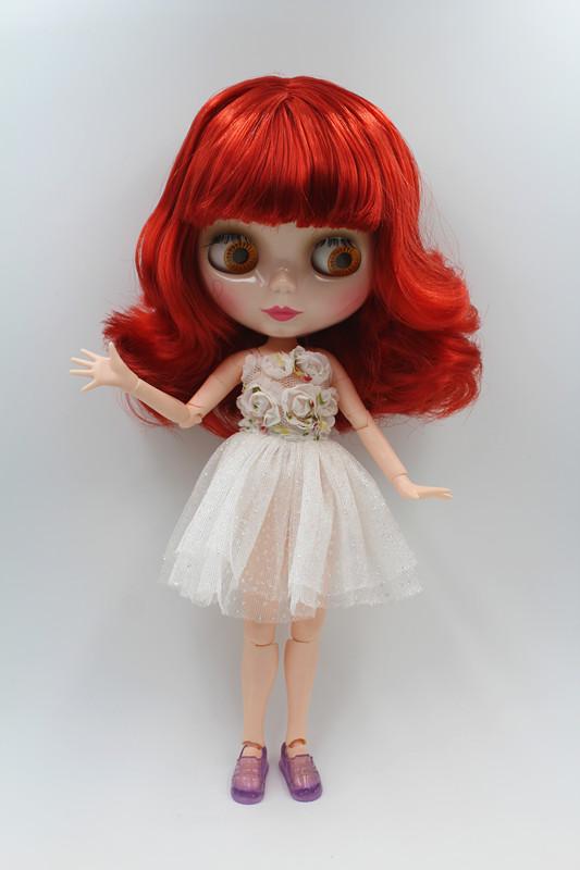 Blygirl人形ワイン赤短い髪ブライス継手本体人形ファッションでき変更メイク