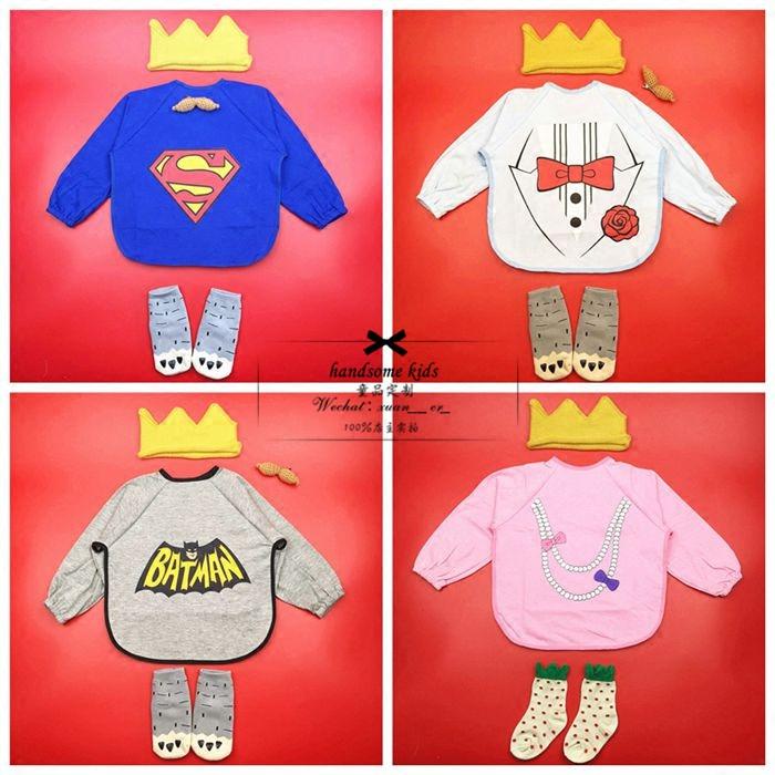 5 Bibs Cartoon Long Sleeve Children Lovely Bib Apron Cute Infant Bib Waterproof Apron SUPERMAN batman Lunch Practical Baby Bib(China (Mainland))