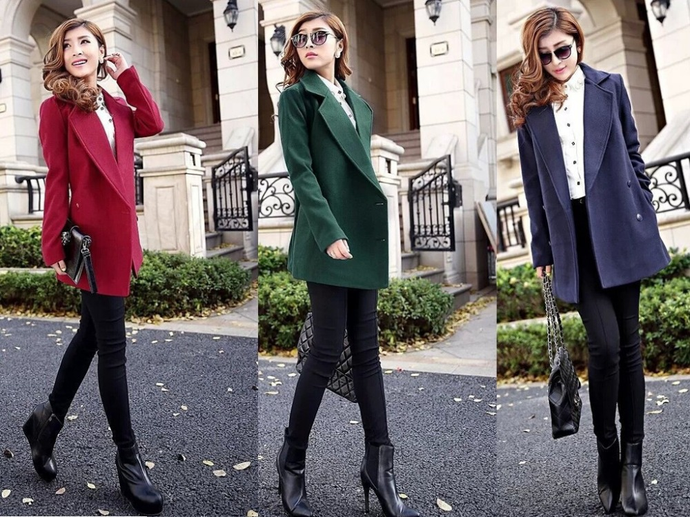 2015 New Fashion Women Wool Blend Coat Double Breasted Female Woolen Jacket Turn Collar Korean Style outwear 6251 - iLoveSIA store