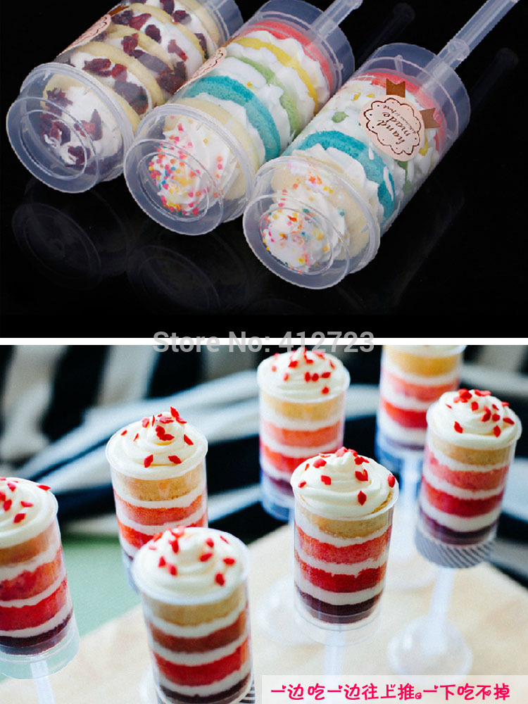 cake PUSH POPS HOLD CUP CAKES/PIES containers with lids,Christmas gifts wedding birthday ice cream sticker decoration 50pcs(China (Mainland))