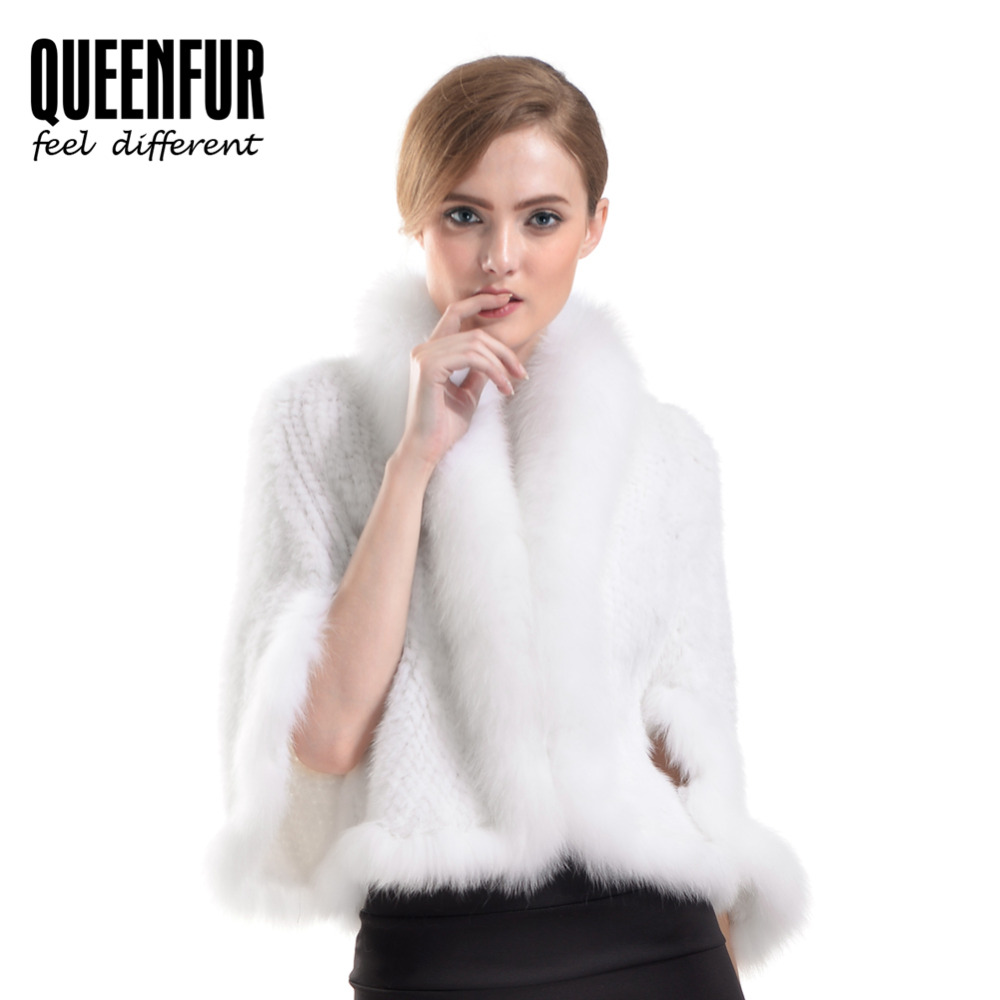 QUEENFUR Natural Knitted Mink Fur Poncho With Fox Fur Women's Fashion Elegant Pashmina Winter Warm Real Fur Poncho Good Quality(China (Mainland))