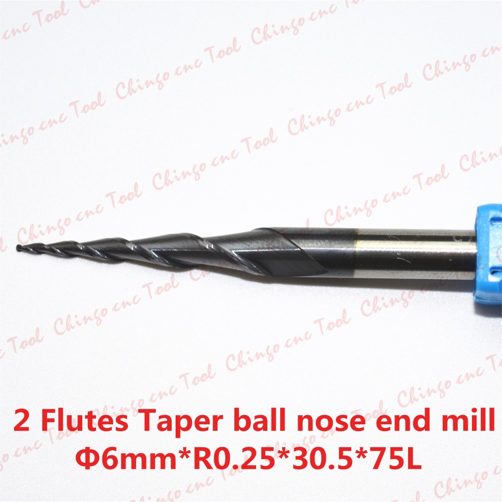 Free shipping-2PCS R0.25*D6*30.5*75L*2F HRC55 Tungsten solid carbide Coated Tapered Ball Nose End Mill taper and cone end mills(China (Mainland))
