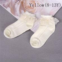 Dla dzieci dziewczyny dzieci maluch biały różowy żółty oddychające bawełniane koronki wzburzyć księżniczka Mesh skarpetki dziecięce kostki krótkie skarpety(China)