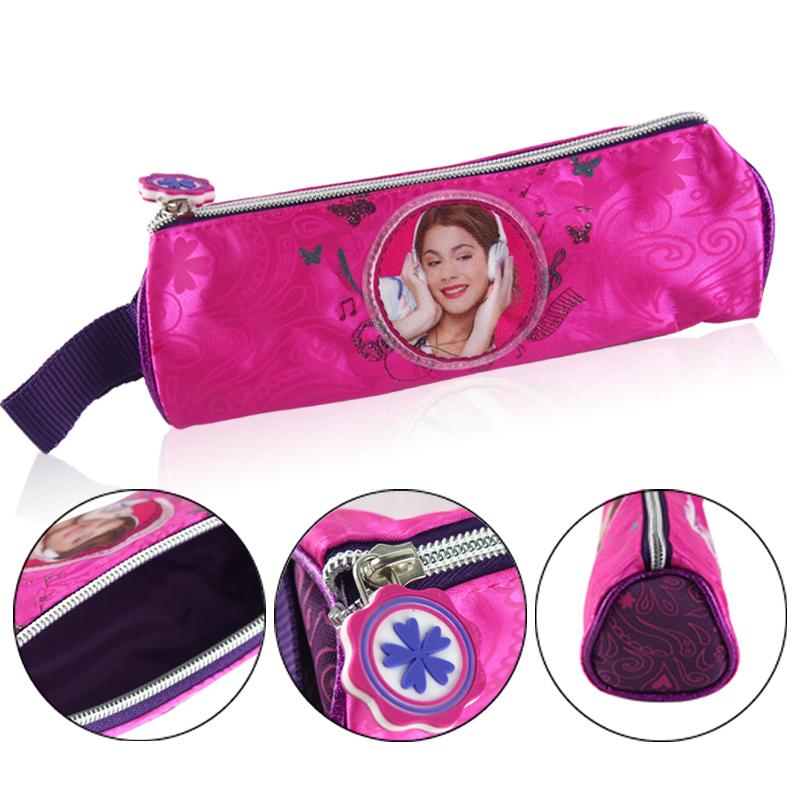 Гаджет  Girls Violetta Stationery Pencil bag School Child Student Pen Case Bag Nylon Pouch Cosmetic Bag Round estojo escolar One Pocket None Офисные и Школьные принадлежности
