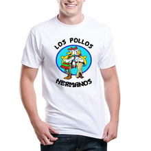 Unique Los Pollos Hermanos Men T Shirts Round Neck Ringer Short Sleeve Breaking Bad Male t-shirts Let's Cook Fashion Tee Shirts