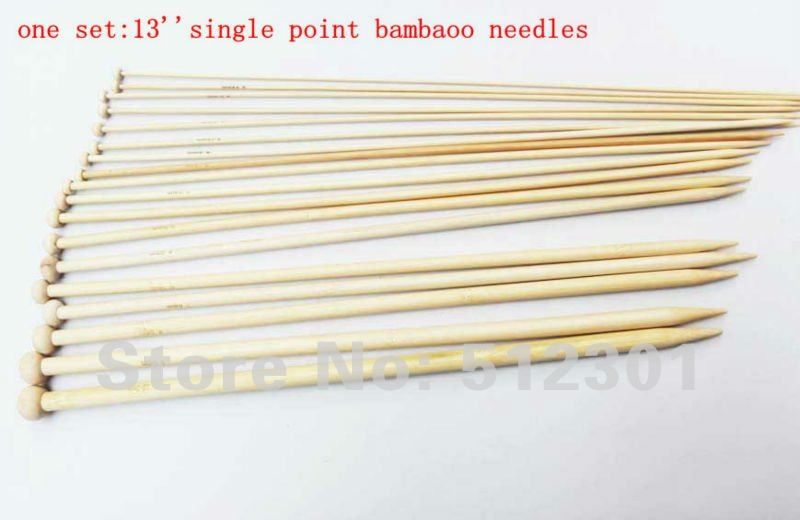 """New 2014 free shipping 18 Sizes 13""""(35cm) Single Point Smooth Knitting Bamboo Needles free shipping"""