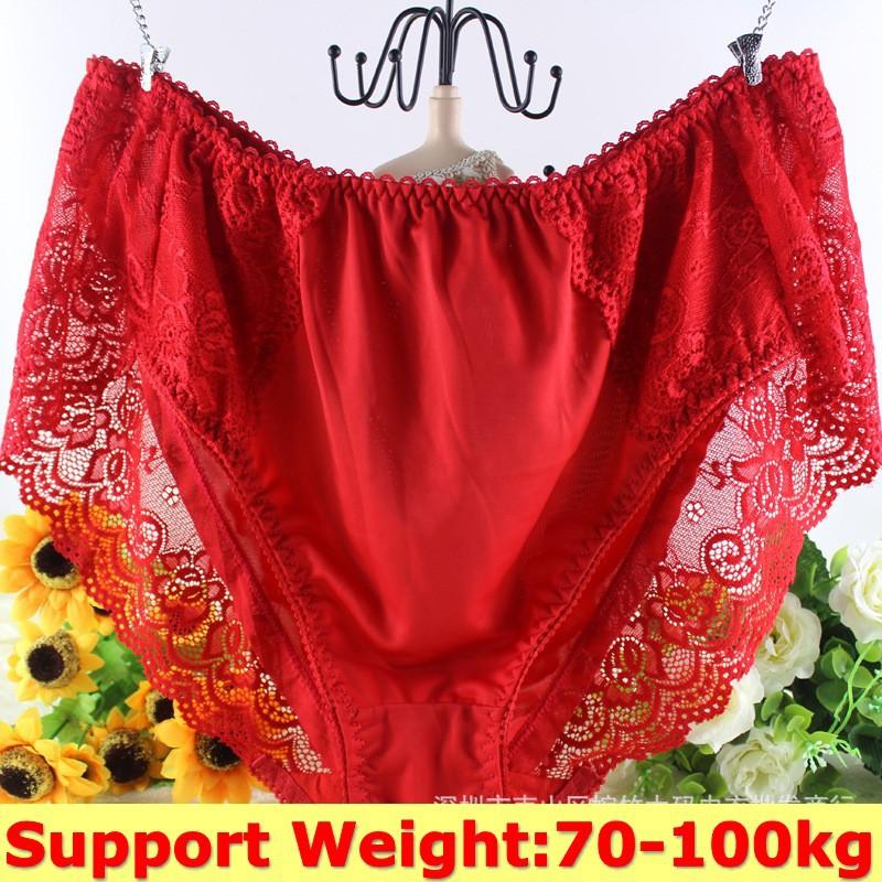 5PCS,5XL,6XL,7XL, Ladies Underwear Woman Plus Size 100KG Lace Sexy Panties For Women Traceless Crotch Cotton Milk Silk Briefs(China (Mainland))