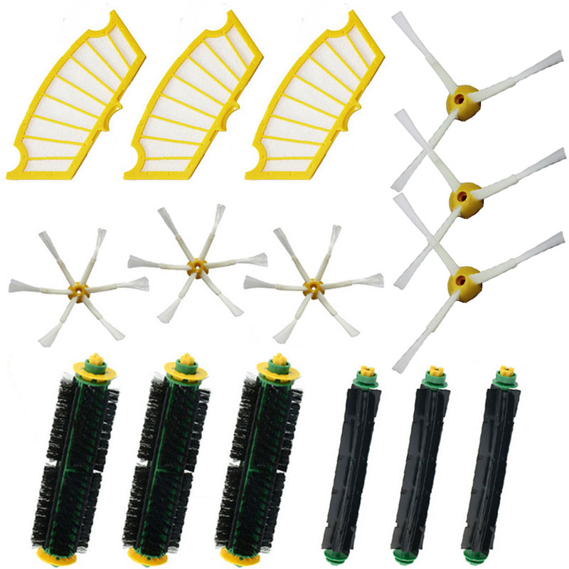 15 Pc/lot side brush +filter kit replacement for Irobot Roomba 500 Series 510 530 532 535 540 555 560 562 570 572 580 581 590(China (Mainland))