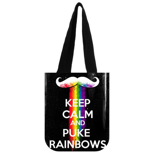 Stylish Canvas Tote Bag Custom Keep Clam And Puke Rainbows Tote Bag 03(China (Mainland))