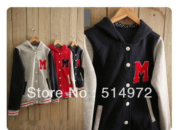 M Letters Baseball Jackets Women's Long-sleeve Hoodies College Style Uniform Cardigans +free shipping