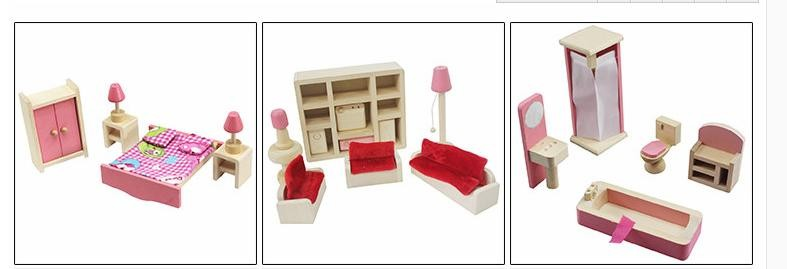 Wooden Pink Miniature Dollhouse Furniture Kids Toys Set Bedroom Kitchen Dinner Living Room Bathroom Pretend Play Toy For Girls